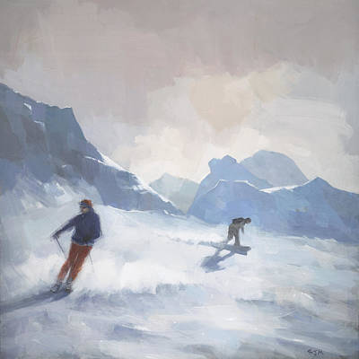 Winter Landscapes Painting - Last Run Les Arcs by Steve Mitchell