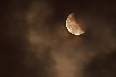 Solar Eclipse Digital Art - Last Stage Of The Total Lunar Eclipse April 15 Blood Moon Through The Clouds by Eti Reid