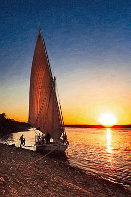 Sailboats Photograph - Last Sunset On The Nile by Mark E Tisdale