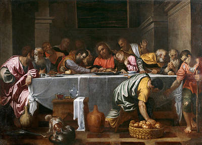 Agostino Carracci Painting - Last Supper by Agostino Carracci