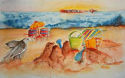 Sand Castles Painting - Late Afternoon Beach by Elaine Duras