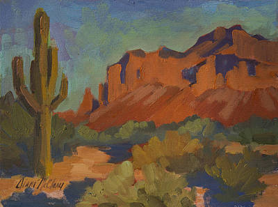 Saguaro Cactus Painting - Late Afternoon Light At Superstition Mountain by Diane McClary