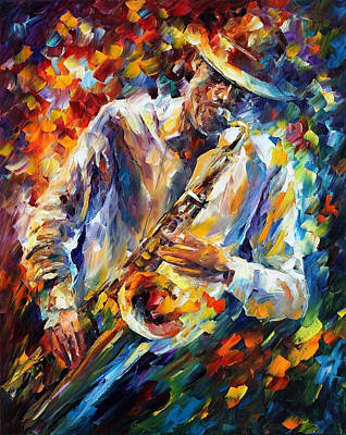 Late Music - Palette Knife Oil Painting On Canvas By Leonid Afremov Original by Leonid Afremov