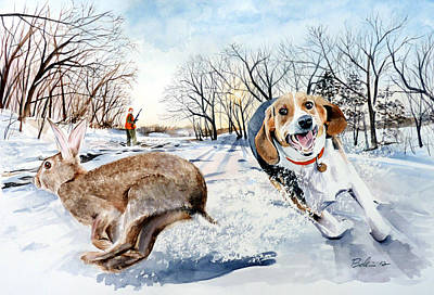 Beagle Puppies Painting - Late Season Rabbit 2 by Dana Bellis