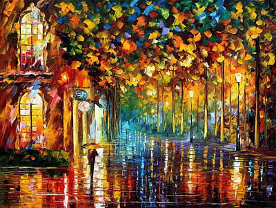 Late Stroll-miami - Palette Knife Oil Painting On Canvas By Leonid Afremov Original by Leonid Afremov