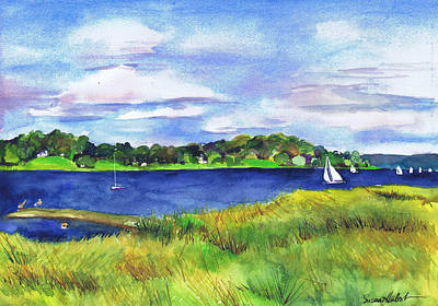 Bayville Painting - Late Summer Marsh Oyster Bay by Susan Herbst