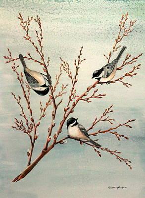 Late Winter Chickadees Print by Gina Gahagan