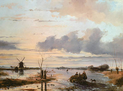Dogs In Snow Painting - Late Winter In Holland by Nicholas Jan Roosenboom