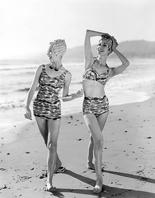 Fashion Model Photograph - Latest Bathing Suit Fashion by Underwood Archives