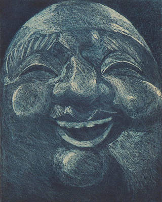 Buddhist Painting - Laughing Buddha In Blue by Nathan Winsor