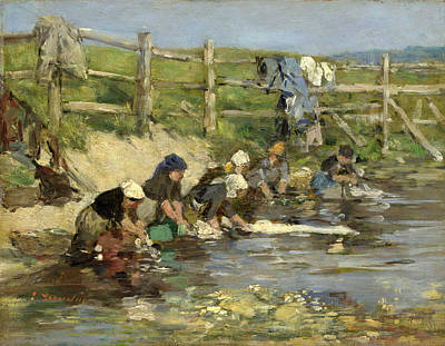 Eugene Boudin Painting - Laundresses By A Stream by Eugene Boudin