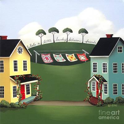Laundry Between Friends Print by Catherine Holman