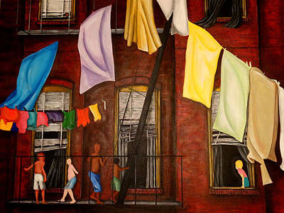 Laundry Painting - Laundry Day by  Artist Ahmed Salam
