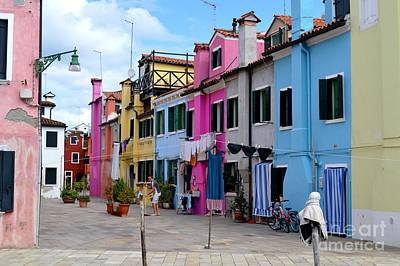 Flowers On Line Photograph - Laundry Day In Burano Venice 1 by Ana Maria Edulescu