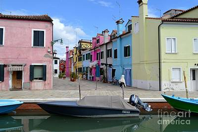Flowers On Line Photograph - Laundry Day In Burano Venice 2 by Ana Maria Edulescu