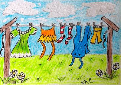 Laundry Day Print by Kathy Marrs Chandler