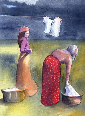 Laundry Painting - Laundry Day by Sarah Buell  Dowling