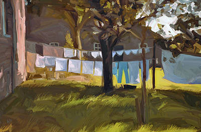Laundry In The Morning Print by Nop Briex