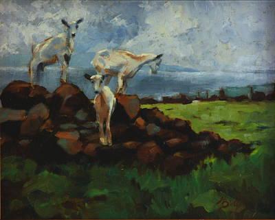 Heather Burton Painting - Launiupoko Goats by Heather Burton