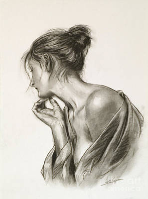 Sepia Chalk Drawing - Laura In Deep Thought by John Silver