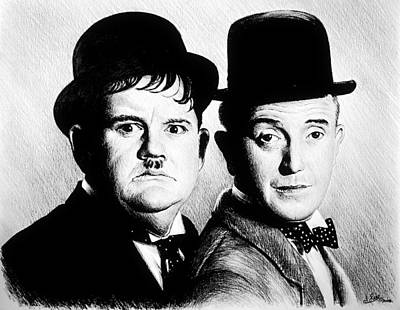 Shock Drawing - Laurel And Hardy Another Fine Mess by Andrew Read