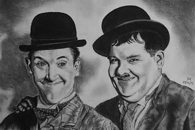 Pompous Pastel - Laurel And Hardy by Kevin Hubbard