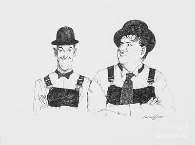 Slapstick Drawing - Laurel And Hardy by Paul Wolff