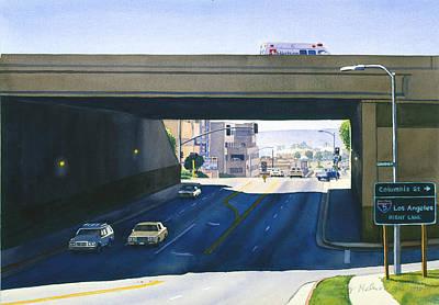 Laurel Street Bridge San Diego Print by Mary Helmreich