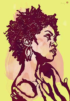 Film Mixed Media - Lauryn Hill B W -  Modern Colour Etching Art  Poster by Kim Wang