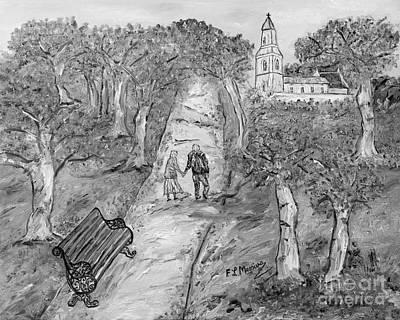 Park Scene Drawing - L'autunno Della Vita by Loredana Messina