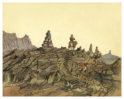 Burro Painting - Lava Fields In Iceland Circa 1862 by Aged Pixel