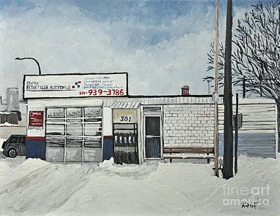 Montreal Buildings Painting - Lave-auto Du Port On Wellington St. by Reb Frost