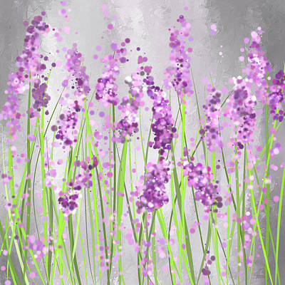 Purple Abstract Painting - Lavender Blossoms - Lavender Field Painting by Lourry Legarde