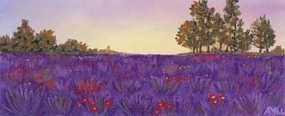 Drawing Painting - Lavender Evening by Anastasiya Malakhova