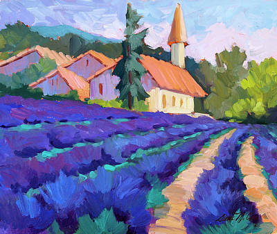Hollyhock Painting - Lavender Field In St. Columne by Diane McClary