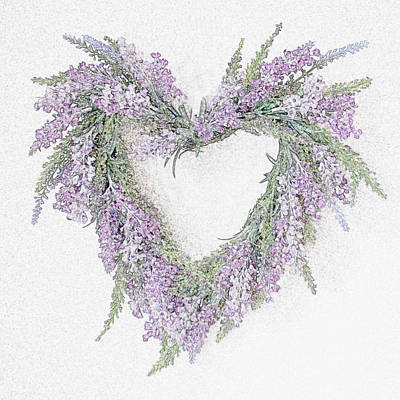 Lilacs Drawing - Lavender Heart by Sharon Lisa Clarke