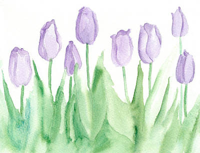 Lavender Drawing - Lavender Mist Tulips by Cathie Richardson