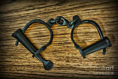 Houdini Photograph - Law Enforcement - Antique Handcuffs by Paul Ward