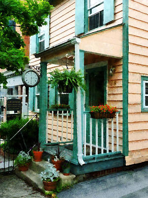 Porch Photograph - Law Office With Clock by Susan Savad