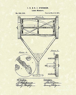 1874 Drawing - Lawn Mower 1874 Patent Art  by Prior Art Design