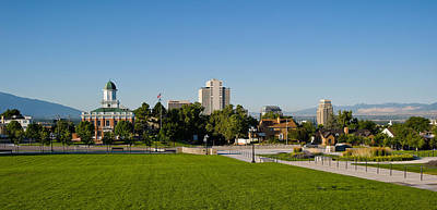 Lawn With Salt Lake City Council Hall Print by Panoramic Images