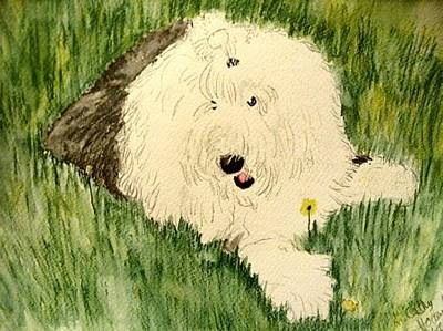 Sheepdog Mixed Media - Laying In The Grass by Cathy Howard