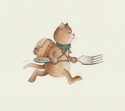 Breakfast Drawing - Lazy Cats07 by Kestutis Kasparavicius
