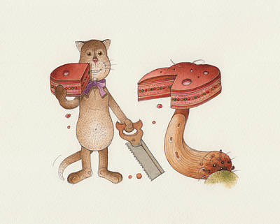 Breakfast Drawing - Lazy Cats10 by Kestutis Kasparavicius