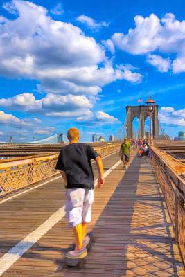 Youthful Photograph - Lazy Days - Skateboarding On The Brooklyn Bridge by Mark E Tisdale