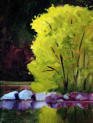 Sunlit Tree Painting - Lazy River by Nancy Merkle