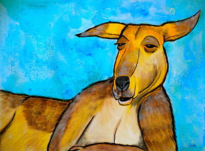 Kangaroo Mixed Media - Lazy Roo by Debi Starr
