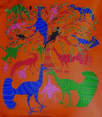 Indian Tribal Art Painting - Lb 179 by Ladoo Bai