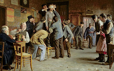 Wooden Table Painting - Le Bain De Pieds Inattendu by Remy Cogghe
