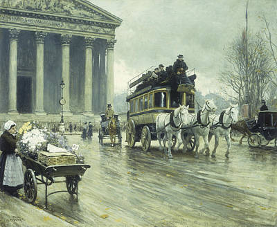 Horse And Cart Painting - Le Boulevard A La Madeleine by Paul Fischer